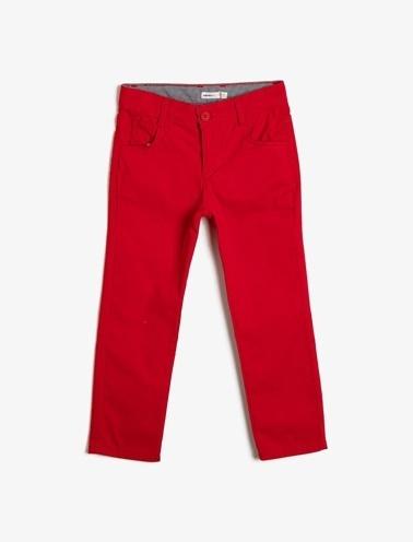 Koton Kids Cep Detayli Pantolon Kırmızı